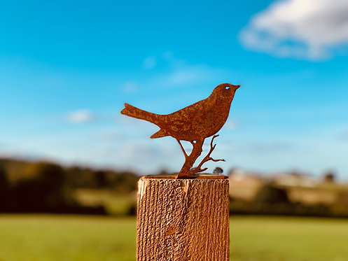 Rusty Metal Bird Post Topper