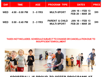 2019 Sport Ball Classes at Crestmont Hall