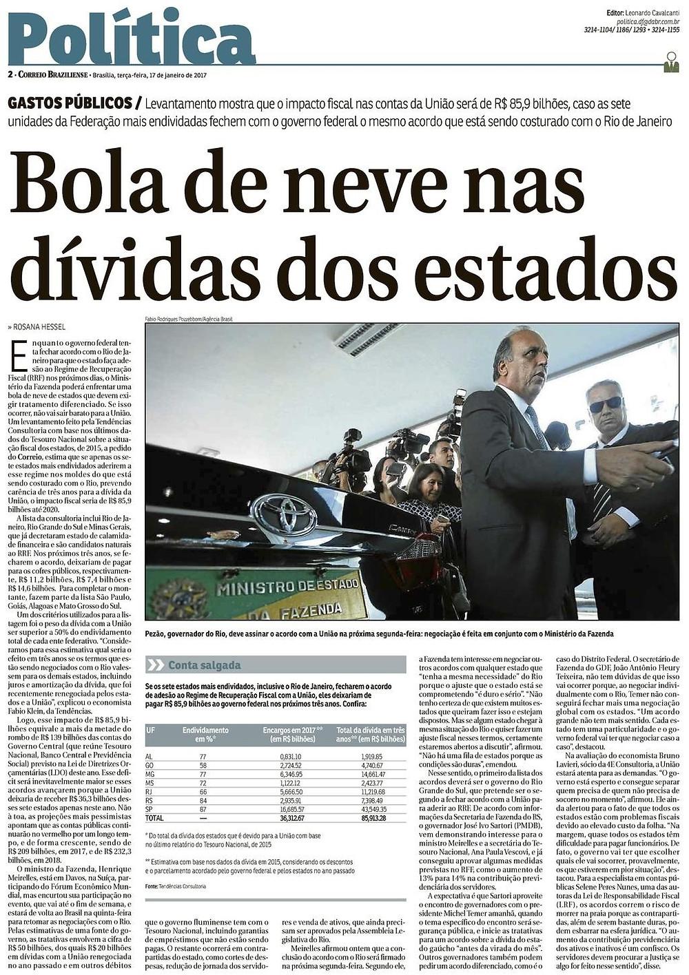 Bola de neve nas dívidas dos estados - Correio Braziliense - Blog da Selene