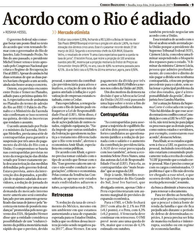 Acordo com o Rio é adiado - Correio Braziliense