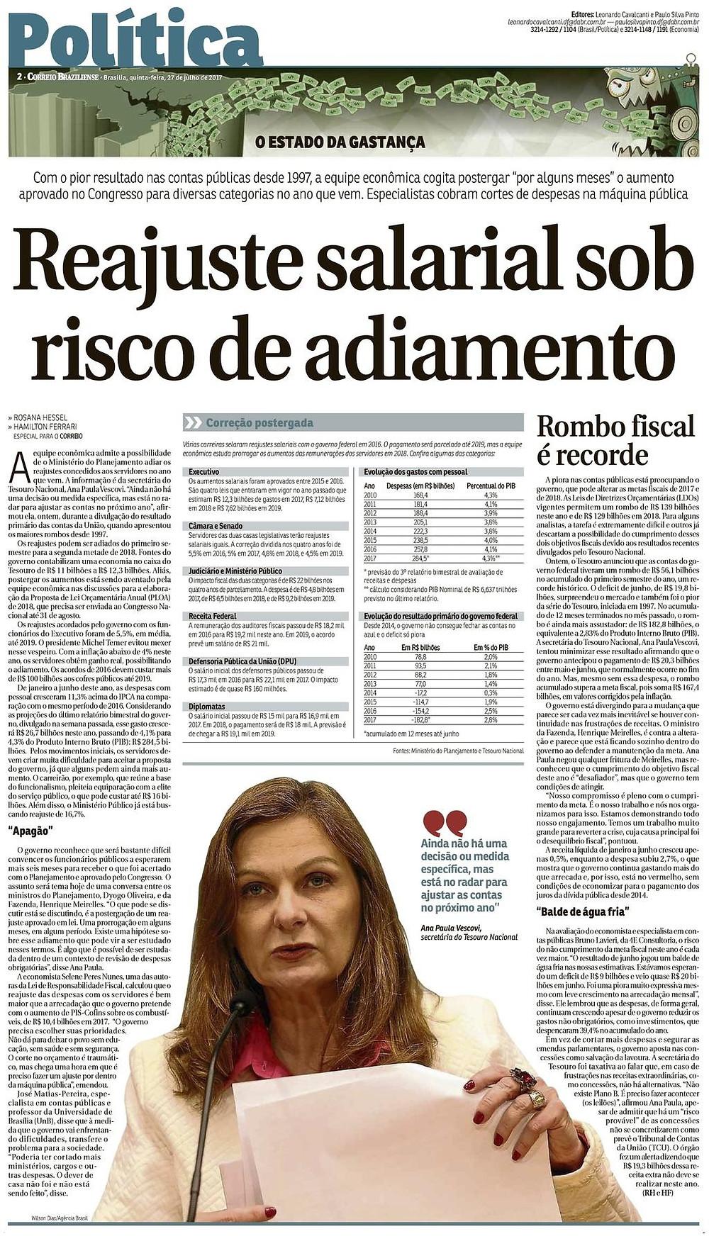 Reajuste salarial sob risco de adiamento - Correio Braziliense