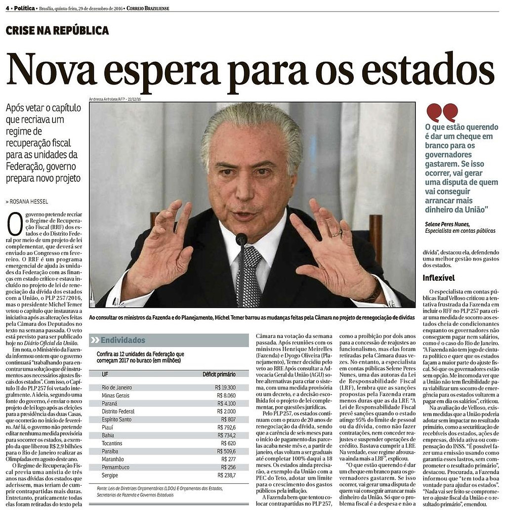 Nova espera para os estados - Correio Braziliense - Blog da Selene