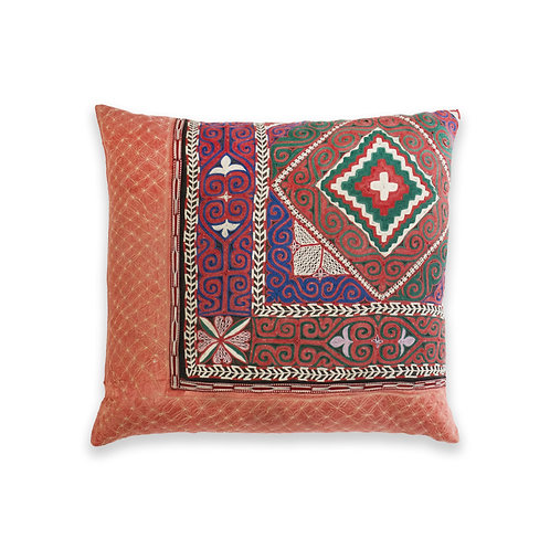 Vintage Hand Embroidered Accent Cushion, Mongolia