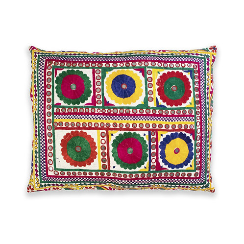 Hand Embroidered Accent Cushion, Gujarat, India