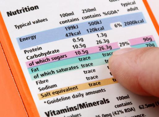 A tabela nutricional