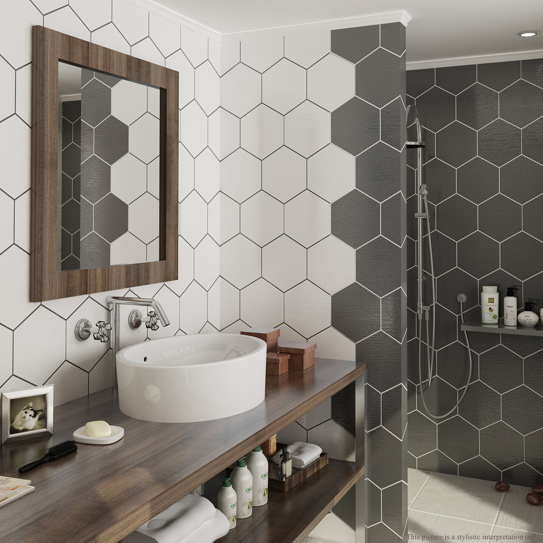 Fantastic Hexagonal Tiles Bathroom Vignette - Bathroom planner ...