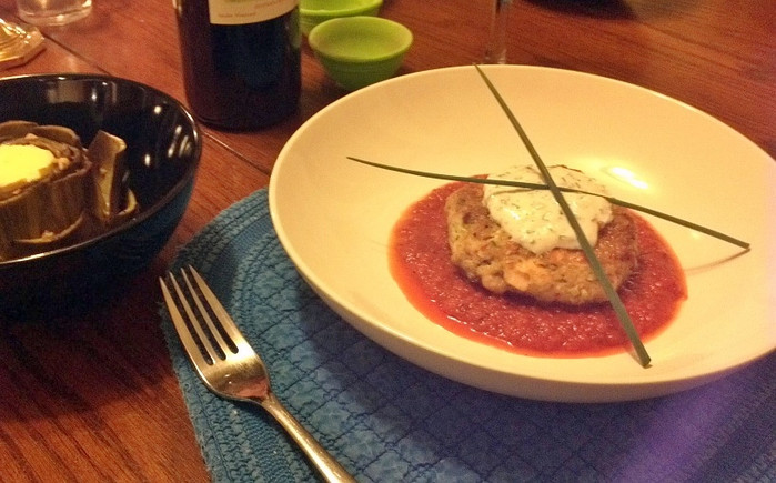 Smoked Salmon Cakes with Roasted Red Pepper-Chipotle Gravy and Yogurt-Chive Sauce