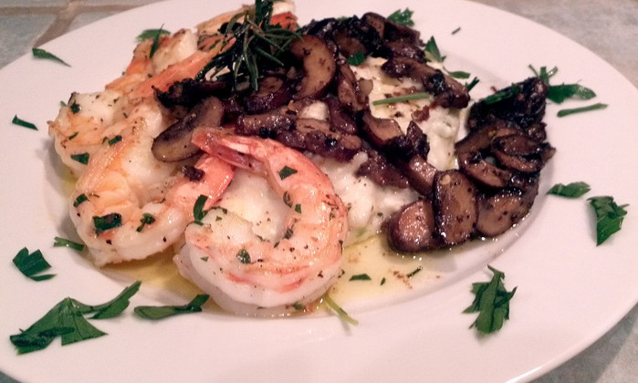 Shrimp and Goat Cheese Grits with Roasted Mushrooms