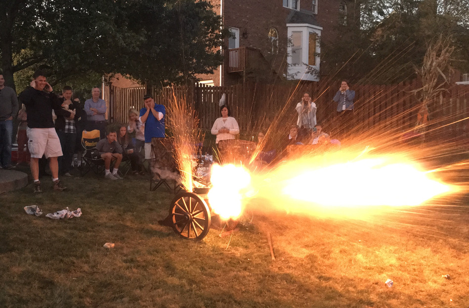 Firing the Cannon at Clam Bake, Peters Township, August 30, 2017