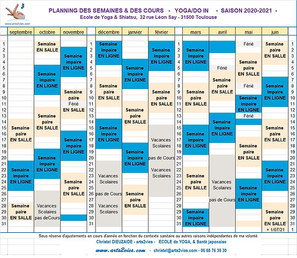 arts2vies - Yoga - Do in - planning des