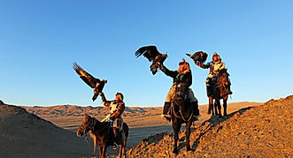 Mongolia travel eagle hunters
