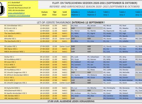 Referee and jury schedule start 2020-2021 season