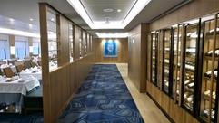 Area Corridoio Ristorante: soffitto in metallo verniciato e pannelli alveolari con faretti e gole luminose led.