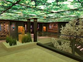 Area Restaurant: soffitto con profili in metallo e parti piane retroilluminate.