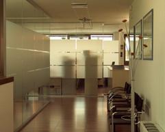 Parete in vetro divisioria per Uffici, Corridoio e Sale d'Attesa: parete in vetro colorato a tutt'altezza con profili in alluminio e porte scorrevoli.