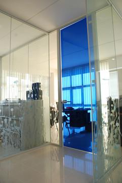 Parete in vetro per Ufficio Direzionale: parete in vetro colorato a tutt'altezza con profili in alluminio.