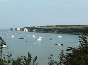 View across Studland Bay, with moored boats