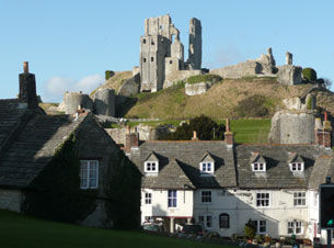 View looking up at Corfe Castle from village