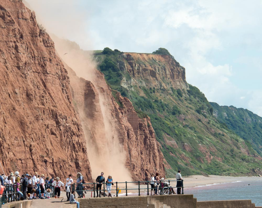 A cliff fall during Sidmouth Folk Festival 2017 at East Beach.