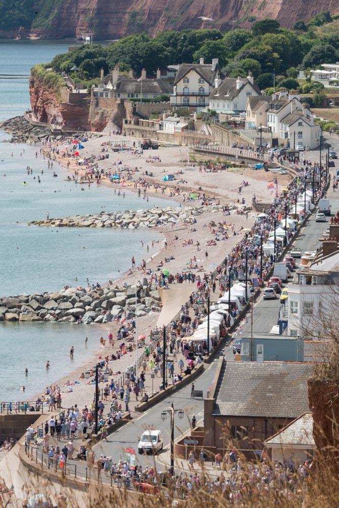 A long-lens photo from Salcombe Hill that shows Sidmouth seafront during the busy FolkWeek festival in August 2018.