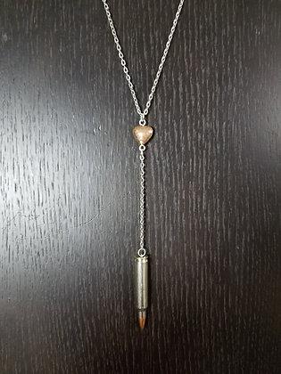 223 Copper Heart Bullet Necklace