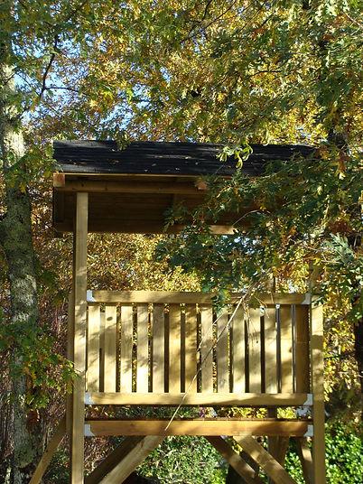 Intégration de la cabane dans la végétation.