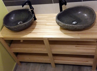 Meuble double vasque créé par Régis Planes Agencement