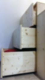 Tiroirs de rangement en bois, réalisé par Régis Planes Agencement.