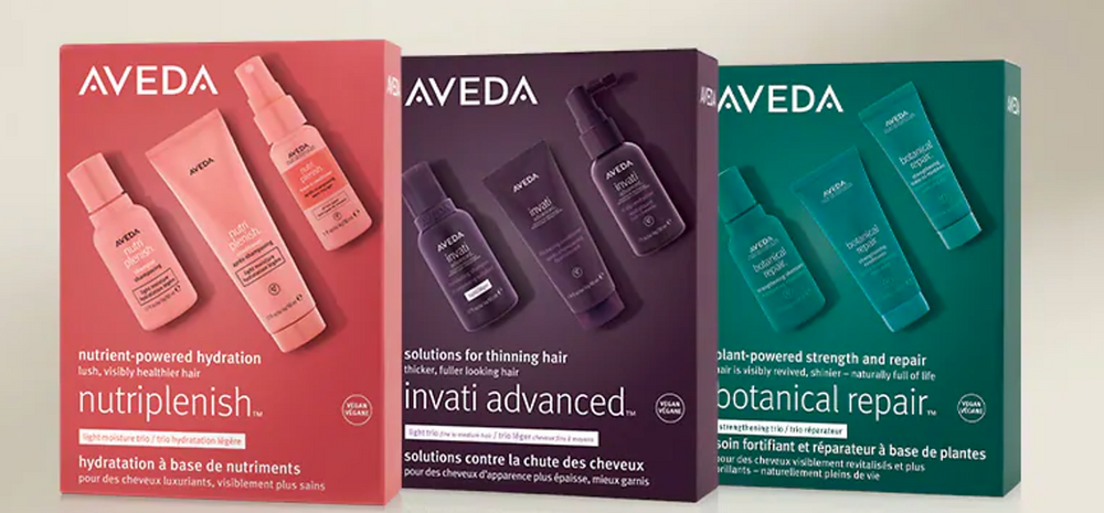 Three Aveda discovery product kits featuring Nutriplenish, Invati Advanced, and Botanical Repair