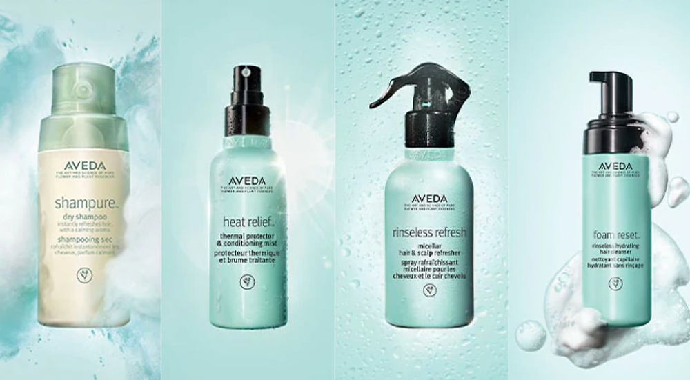 Aveda's four washless product options, Shampure Dry Shampoo, Heat Relief, Rinseless Refresh, and Foam Reset