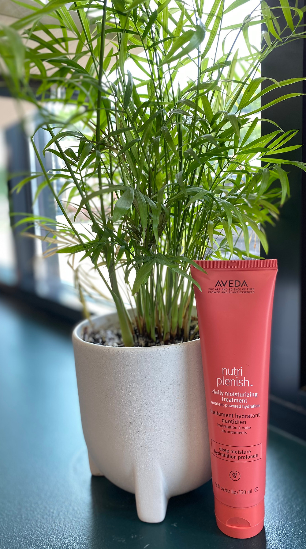 Aveda's Nutriplenish Daily Moisturizing Leave-in Treatment next to a plant in a white planter