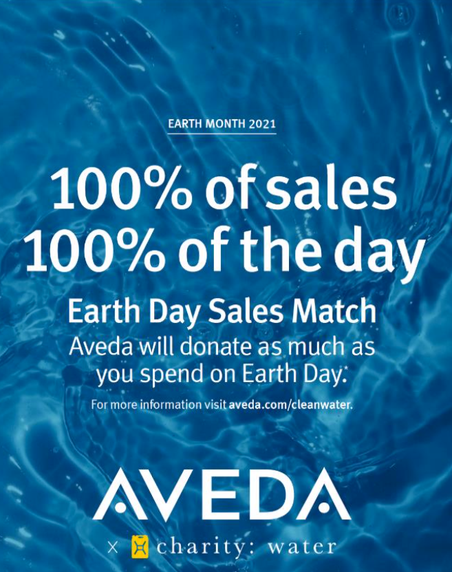 Aveda's Earth Day Sales Match image for 100% of sales on April 22