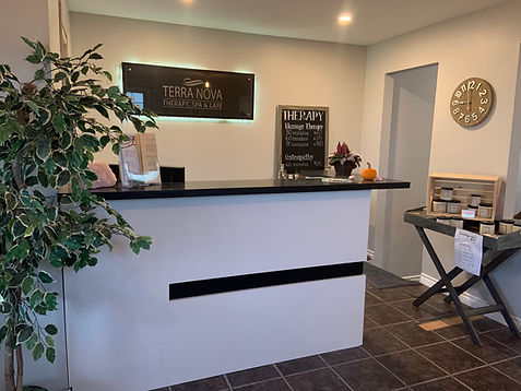 Reception Desk at Terra Nova Therapy, Spa & Cafe. Check in for massages, osteopathy, yoga, spa services and the Cafe