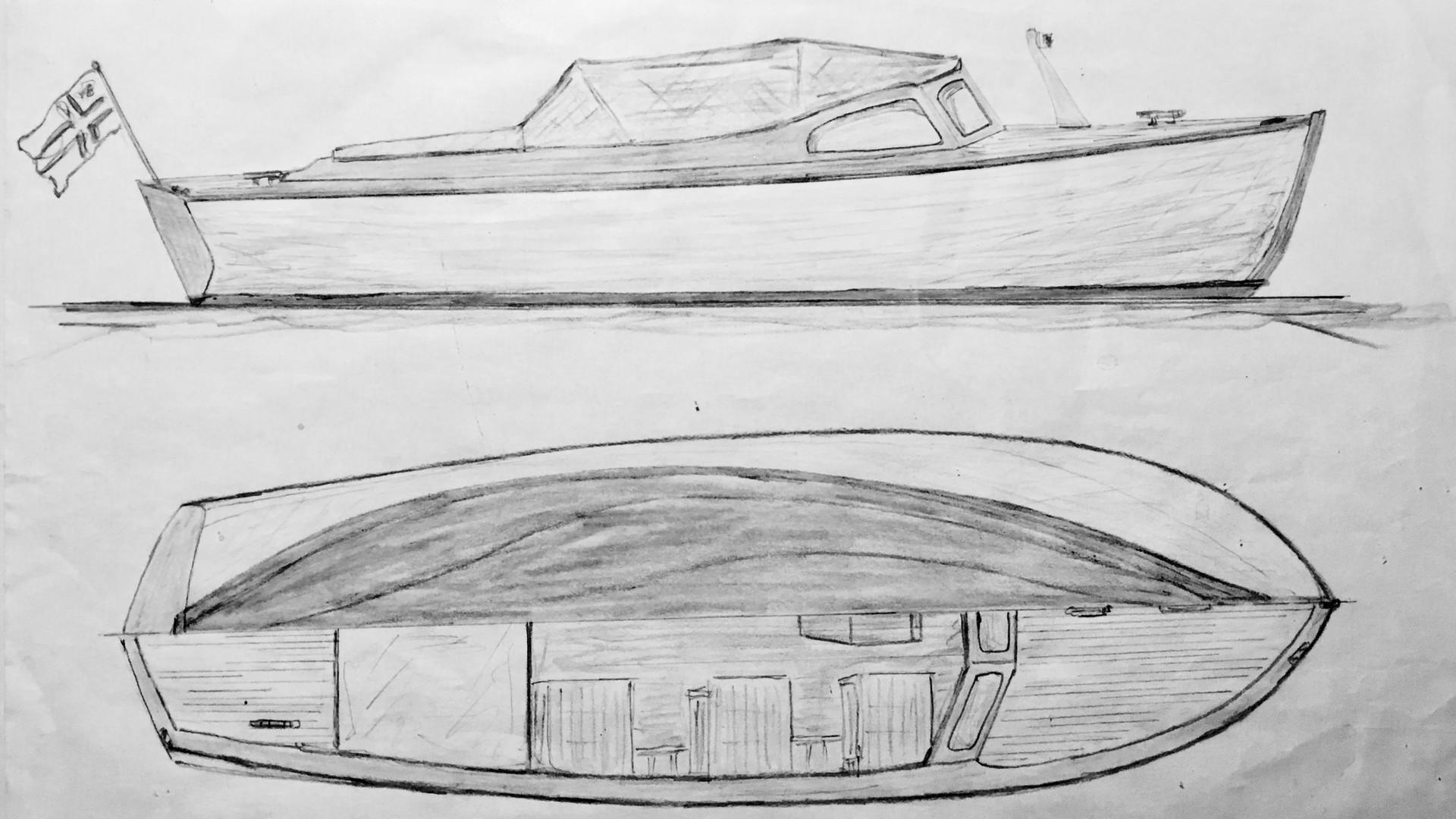 Kvarnström utfärdsmotorbåt / moottorivene yöpymismahdollisuudella / Motor boat with sleeping cabin 21´