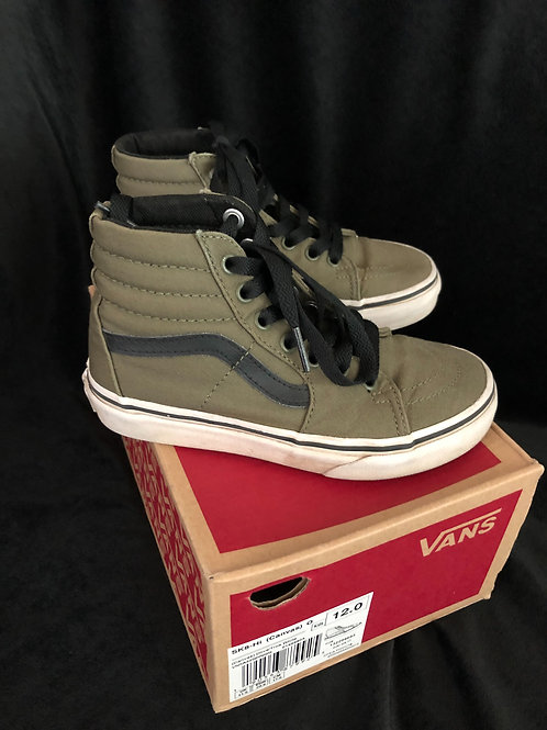 SK8- Hi Canvas Olive Green Kids Shoes