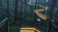 E essa ponte iluminada em uma floresta da Indonésia?