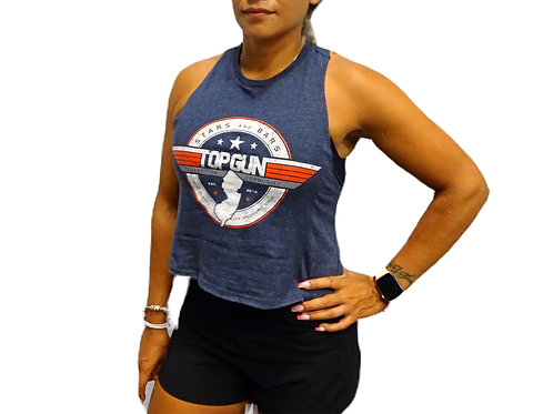 TOPGUN Ladies' Cropped Muscle Tee - Heather Blue