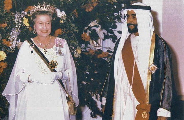 Sheikh Zayed and Elizabeth II)