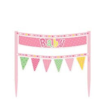 Cake Banner Baby Shower Pink