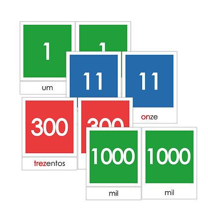 Números de 1 a 1000 - Cartão de 3 partes