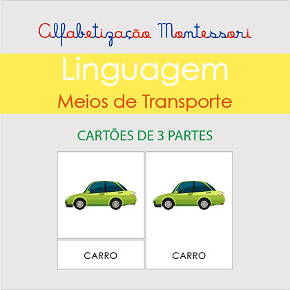 Meios de Transporte - Cartão de 3 partes