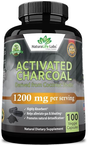 Organic activated charcoal 1,200mg 100 veggie capsules