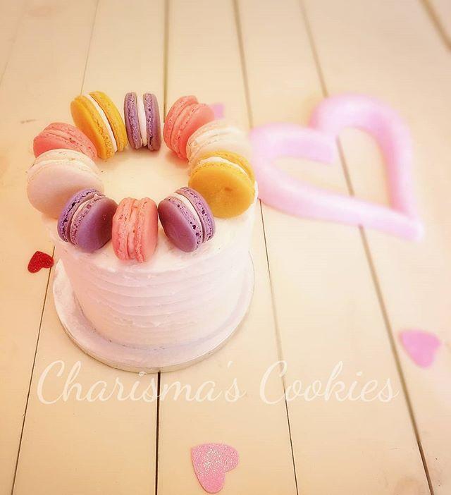 Valentine's Day Macaron Cake