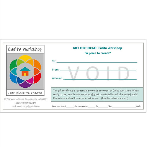 Gift Certificates in increments of