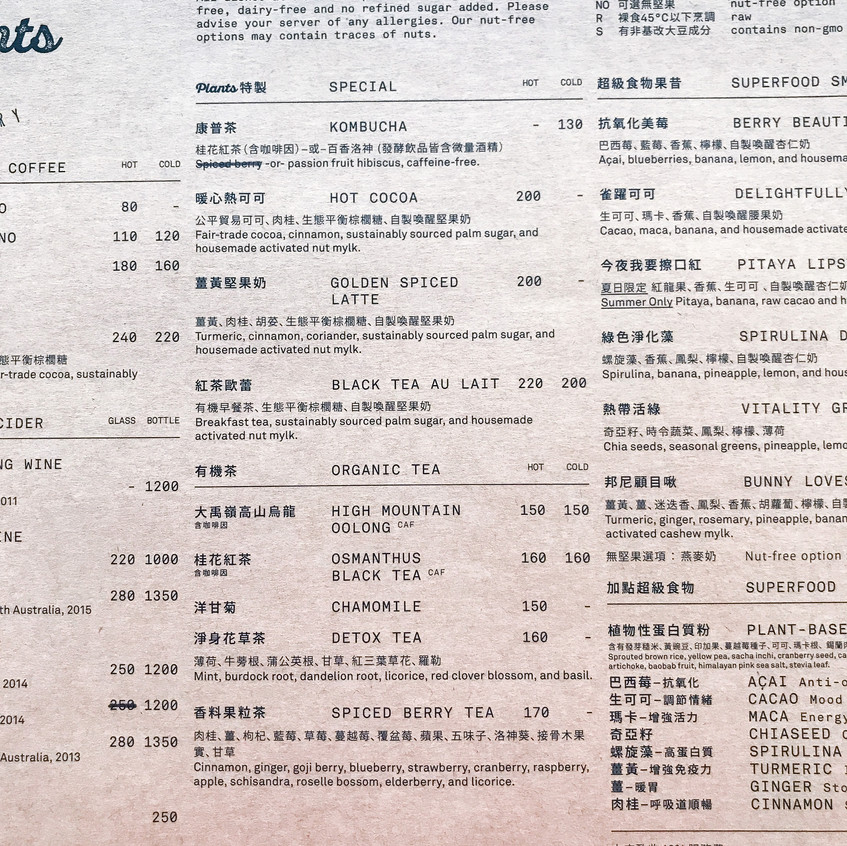 Plants Taipei Menu