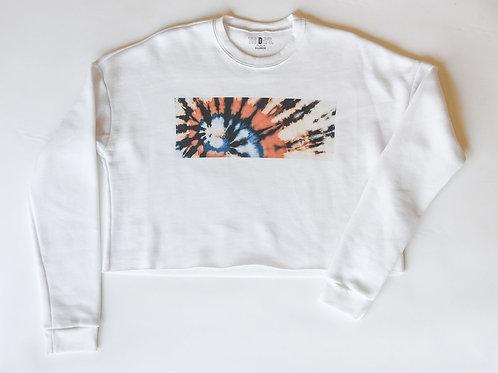 Tie Dye Block Print Cropped Sweatshirt