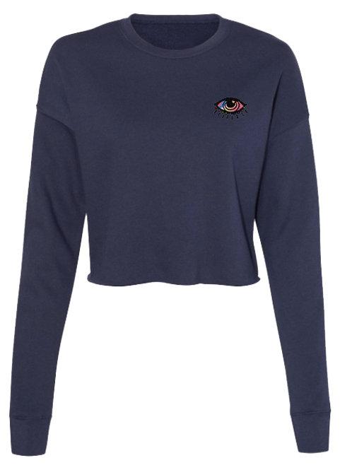 Rainbow Sun Eye Embroidered Cropped Sweatshirt - Navy