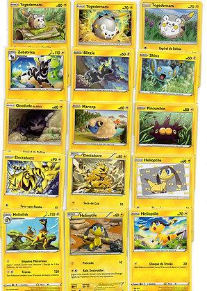 Lote de 50 cards diferentes Pokémon elétrico