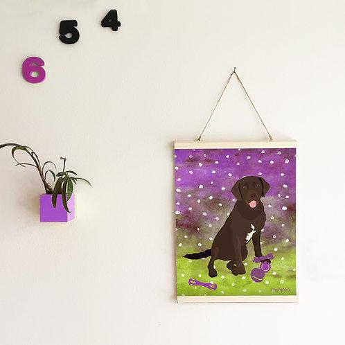 Obraz Labrador - fialová