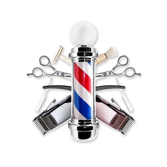 Barber Pole With Tools Isolated On White